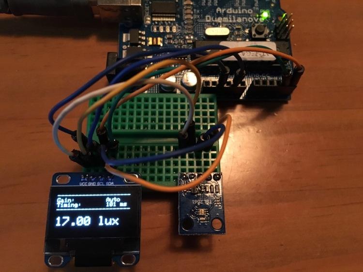 Luminance sensor module connected to Arduino Duemilanove