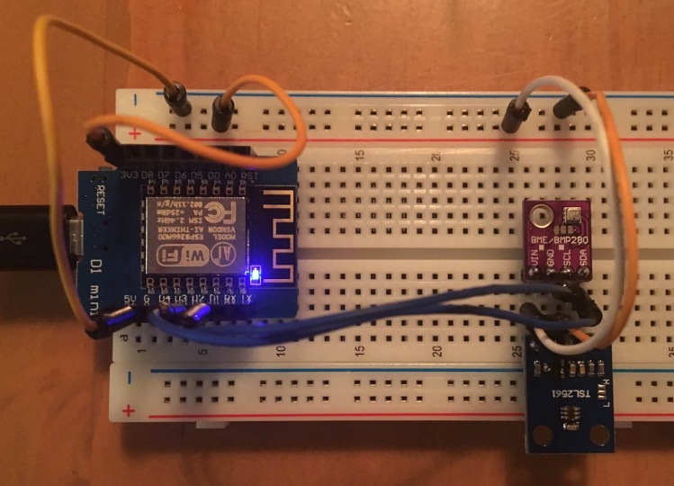 Components hooked together on breadboard