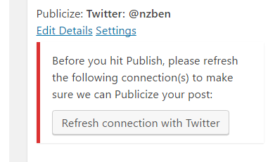 Wordpress twitter publishing broken